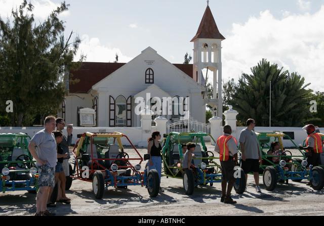 Grand Turk Cockburn Town Methodist Church built 1930 dune buggy tour - Stock Image