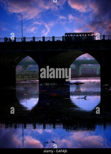 Old Evening Bridge in India - Stock Image