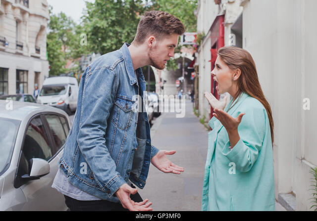 scandal, problem between young couple, relationships difficulties, conflict in family - Stock Image