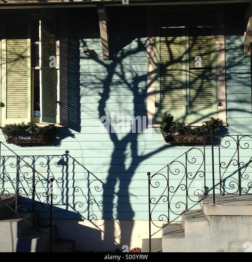 Abstract of tree shadow on an old New Orleans house. - Stock Image