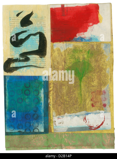 Abstract art painting with asian motifs including a collaged Ginkgo leaf and free form black ink brush work over - Stock Image