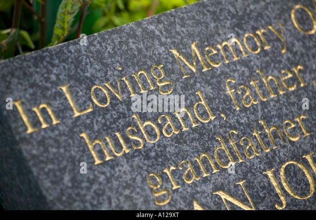 Headstone husband father grandfather - Stock-Bilder