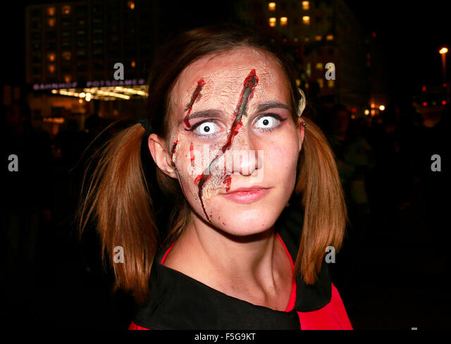 OCTOBER 10, 2015 - BERLIN: actors dressed up as zombies at a promotional event for an upcoming party series in Berlin. - Stock Image