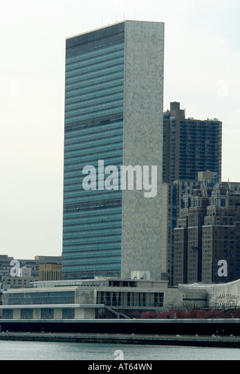 United Nations Building as Viewed From Roosevelt Island in New York City USA - Stock Image