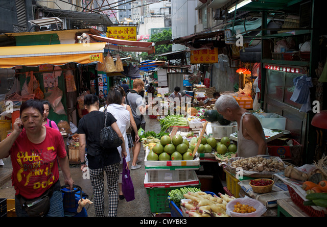 Food market in Central Hong Kong. 28-Aug-2012 - Stock Image
