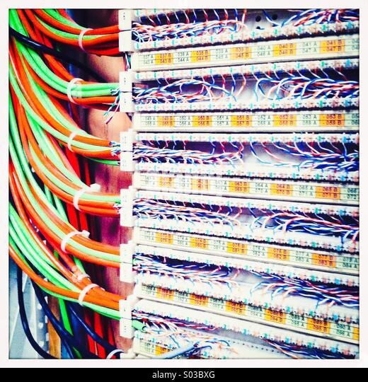 Telecommunications switch board - Stock-Bilder