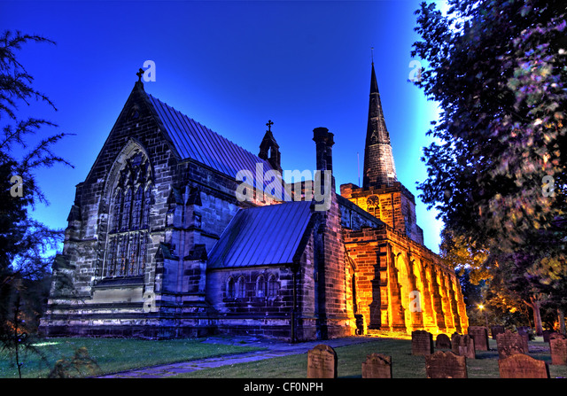St Oswald's Church, Winwick, is in the village of Winwick to the north of Warrington, Cheshire, England. - Stock Image
