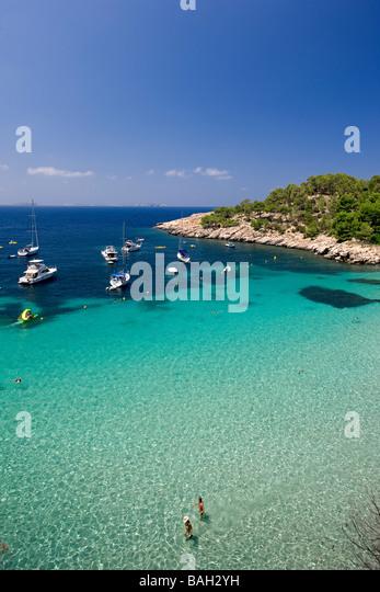 Spain, Balearic Islands, Ibiza island, Cala Salada - Stock Image