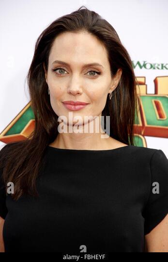Los Angeles, US. 16th Jan, 2016. Angelina Jolie at the Los Angeles premiere of 'Kung Fu Panda 3' held at - Stock Image