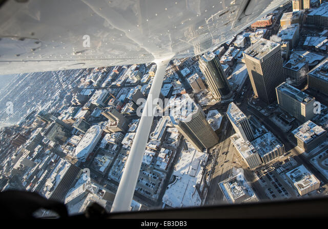 Canada, Manitoba, Winnipeg, Aerial view of city center - Stock Image