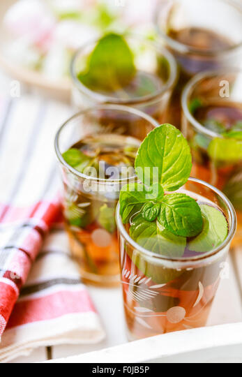Moroccan mint tea in glasses - Stock Image