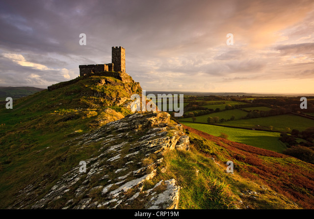 Evening light on the Church of St. Michael de Rupe (St. Michael of the Rock) in Dartmoor National Park. - Stock Image