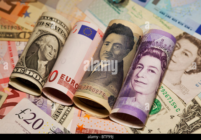 Dollar, euro, yen and sterling bank notes - Stock Image