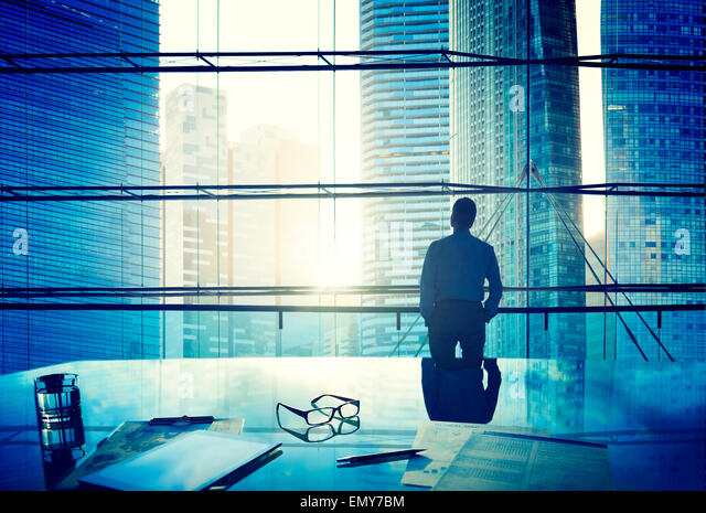 City Scape Businessman Thinking Concepts - Stock Image