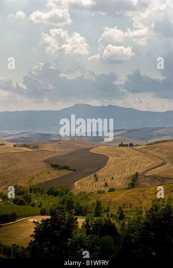 Tuscany Italy countryside and sky - Stock Image