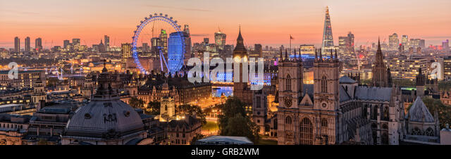 London's skyline at daybreak from the roof tops. The iconic London skyline at sunrise - Stock Image