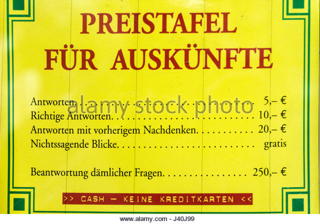 Price list for questions , Photo Shop Kreuzberg, Berlin - Stock Image