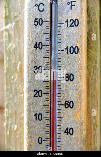 Brighton UK - 7 July 2013 - A garden thermometer already reading 30 degrees centigrade air temperature in Brighton - Stock Image