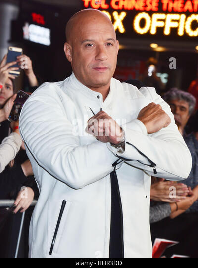 Los Angeles, USA. 19th Jan, 2017. Vin Diesel 116 arriving at the xXx Return Of Xander cage premiere at the TCL Chinese - Stock-Bilder