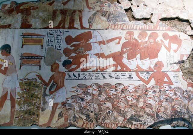 Nebamun viewing Geese and Cattle, tomb-chapel decoration, British Museum, London, UK - Stock Image