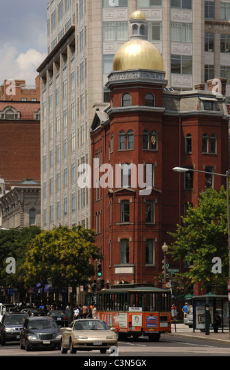 Traffic in a downtown street. Washington D.C. United States. - Stock Image