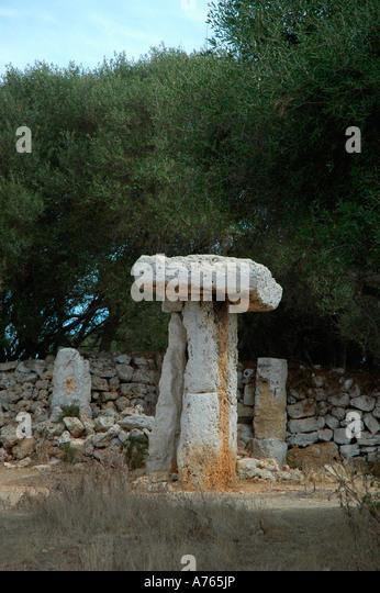 Taula in Torre Trencada Site MENORCA Balearic Islands Spain - Stock Image