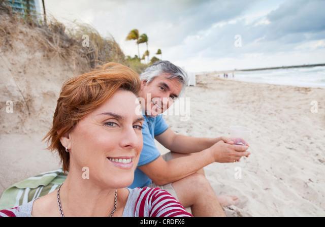 Man and woman at the beach, Bal Harbor, Miami, Florida - Stock Image