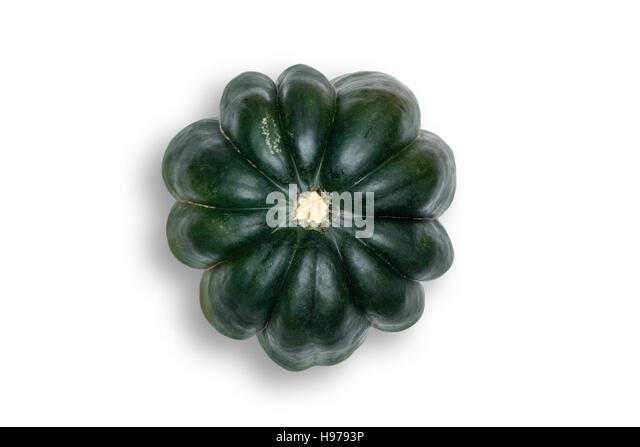 Above Head view of Acorn Squash Isolated on White Background with Light Drop Shadow - Stock Image