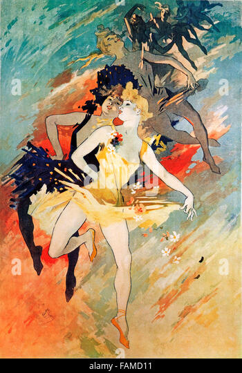 Cheret, La Danse, 1891 Art Nouveau poster by the graphics master to illustrate stage craft - Stock Image