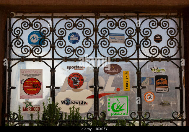 Dades Gorge, Morocco.  Tourism Travel Stickers, Hotel Timzzillite, at Summit leading out of the Gorge. - Stock-Bilder