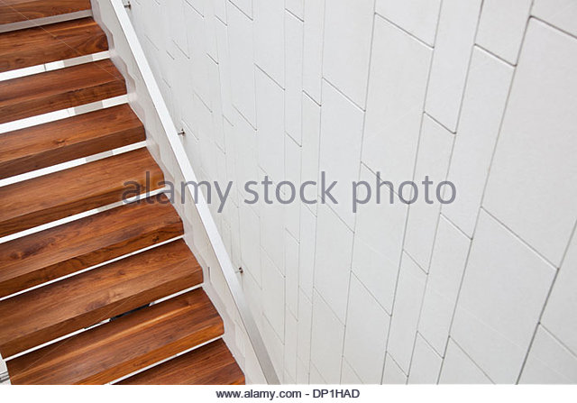 High angle view of wooden stairs - Stock Image