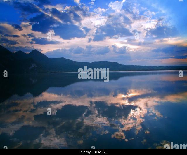 DE - BAVARIA: Lake Kochel at sunset - Stock-Bilder