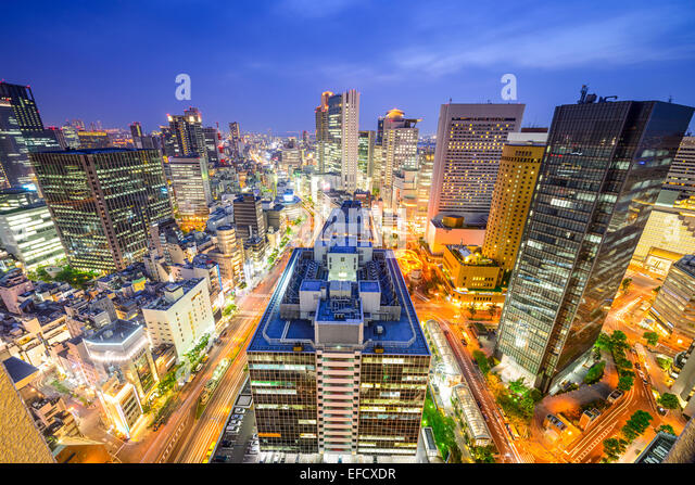 Osaka, Japan downtown cityscape over the Umeda District. - Stock Image