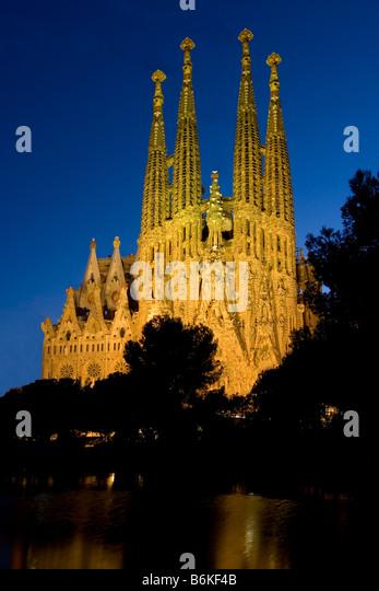Sagrada Familia, Gaudi's Cathedral in Barcelona, Spain at twilight - Stock Image