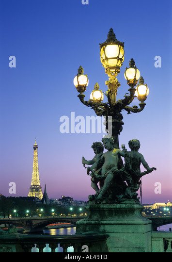Eiffel Tower from Pont Alexandre III, Paris, France - Stock Image