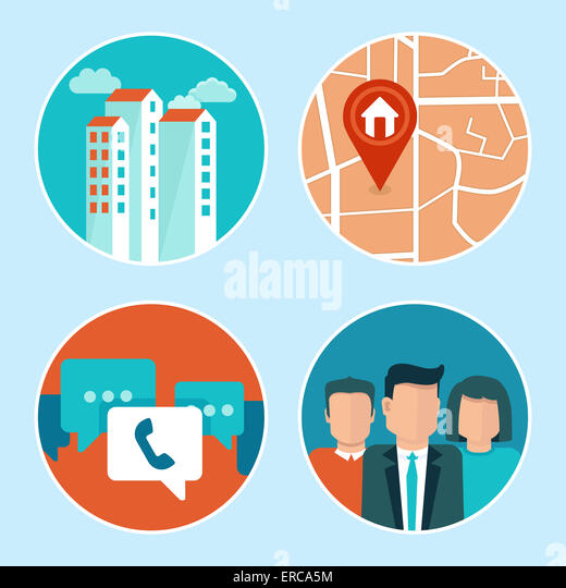 Office address and phone icons in flat style - building, map, contacts - Stock-Bilder