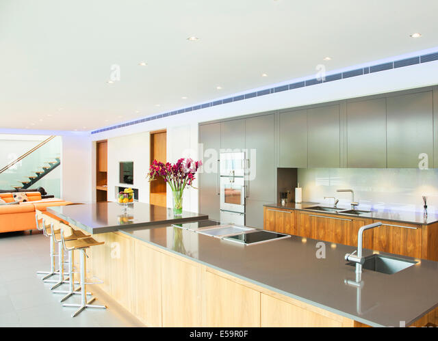 Countertop in modern kitchen - Stock Image