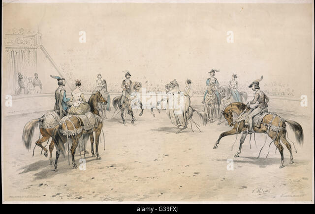 QUADRILLE                       Men and women in historical  costume dance the quadrille on  horse back       Date: - Stock Image