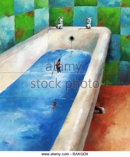 Bathtub Tightrope - Stock-Bilder