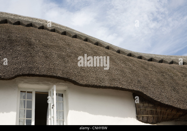 Traditional thatched Devonshire cottage - Stock Image