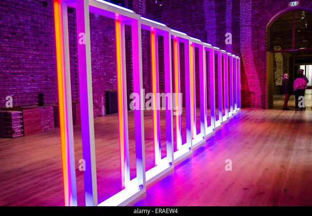 Dan Flavin, American minimalist artist famous for creating sculptural objects and installations.space-filling installations - Stock Image