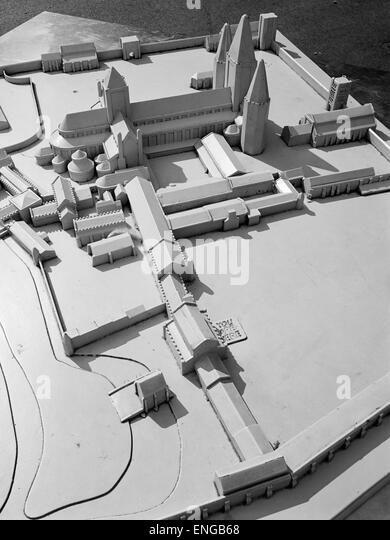 Scale model of how St Edmund's Abbey is believed to have looked Bury St Edmunds Suffolk England - Stock Image