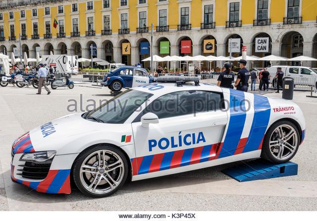 Lisbon Portugal Baixa Pombalina Terreiro do Paco Praca do Comercio Commerce Square plaza policia law enforcement - Stock Image