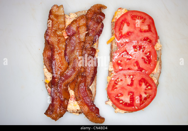 Bacon and tomato sandwich - Stock Image