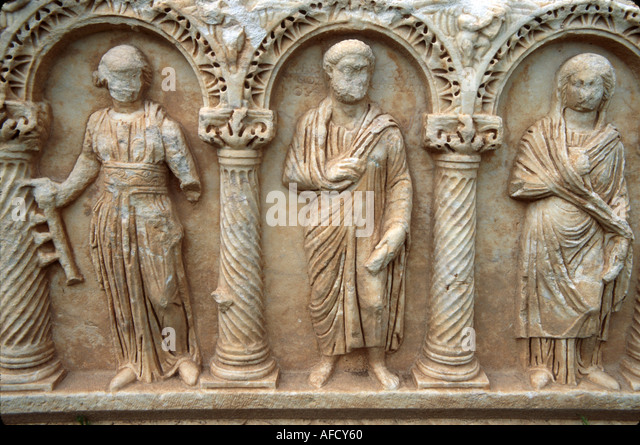 Turkey Aphrodisia Baths of Hadrian ruins of Greco Roman city built to honor goddess Aphrodite marble artifact - Stock Image