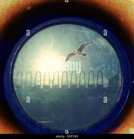 Reflection of seagull in round window of RNLI lifeboat station in Blackpool - Stock Image