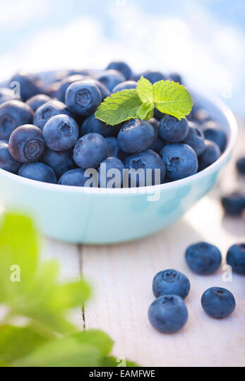 Blueberries in a bowl - Stock Image