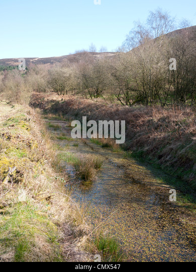 Hillside rain overflow, England, UK. - Stock Image