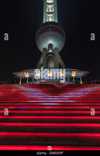 Oriental Pearl Tower at night, Lujiazui, Pudong, Shanghai, China - Stock Image