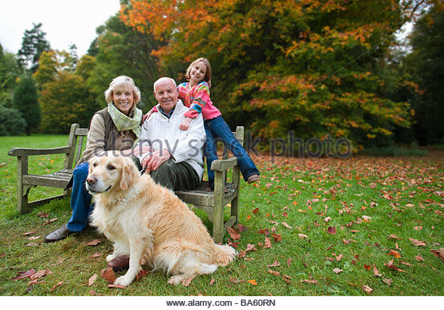Portrait of grandparents, granddaughter, and dog sitting on bench in park - Stock Image